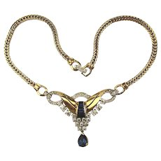1940s Mazer Bros. Art Deco Rhinestone Necklace