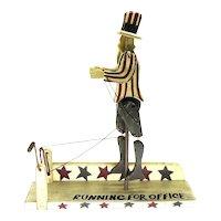 20th C. Chris Flesher Wood Folk Art Running Uncle Sam Political