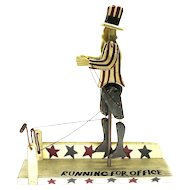 20th C. Chris Flesher Wood Folk Art Running Uncle Sam Political