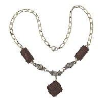 Pretty Art Deco Era Necklace - Molded Red Glass w/ Silver Roses