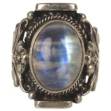 Vintage Sterling Silver Labradorite Stone Ring Ornate Floral Setting