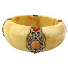 Chunky Vintage Wide Bangle Bracelet w/ Faux Coral - Rhinestones
