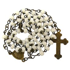 Victorian Child's Rosary - Glass Beads - Brass Cross
