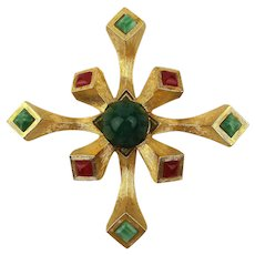 Big Unusual Maltese Cross Pin w/ Glass Jade - Carnelian Stones