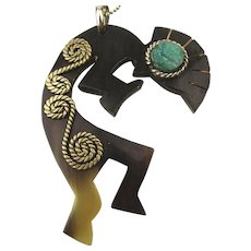 Hopi Kokopelli Carved Horn Sterling Turquoise Pendant Necklace