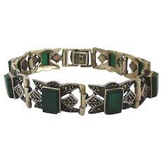 Vintage Sterling Silver Green Onyx Marcasite Bracelet