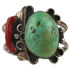 Heavy Sterling Navajo Cuff Bracelet Big Turquoise Red Coral