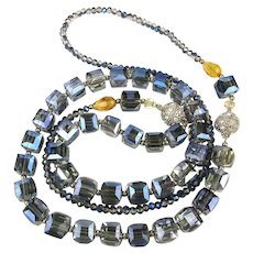 A Long Blue Crystal Bead Necklace Like No Other Two in One
