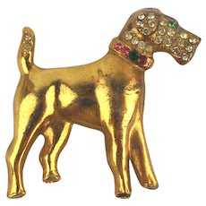 Vintage Gilded Dog Pin w/ Rhinestones - Airedale or Terrier