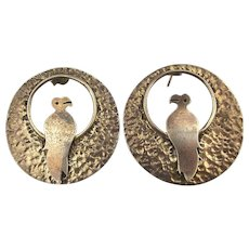 Taxco Mexican Sterling Silver Earrings Bird on a Perch