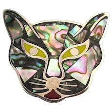 Amazing Mexican 950 Silver Inlaid CAT Face Pin Pendant Taxco Art