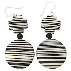 Mod Black & White Stripe Earrings 925 Silver Wires