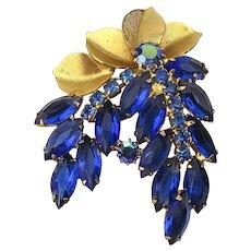 Vintage Gilt Cobalt Blue Floral Rhinestone Pin Brooch