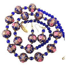 Venetian Art Glass Wedding Cake Beads Necklace w/ Earrings
