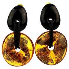 Danish Modern Signed Gerda Lynggaard - Monies Earrings Amber - Horn