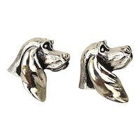 Vintage SWANK Cufflinks - Figural Dog w/ Long Ears