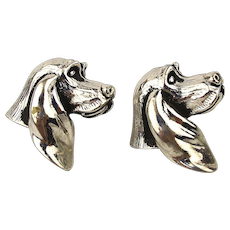 Vintage SWANK Cufflinks - Figural Dog w/ Long Ears
