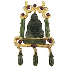 Signed SWOBODA Oh-Swo-Great Jade Buddha Pendant Necklace