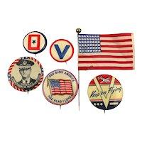 Old Original WWII Patriotic Pins Flag Homefront Victory