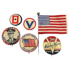 Old Original WWII Patriotic Pins Flag Homefront Victory