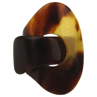 Old Victorian Faux Tortoise Shell Celluloid Ring