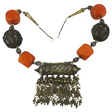 Huge Old Tribal Silvertone Metal Bakelite Necklace