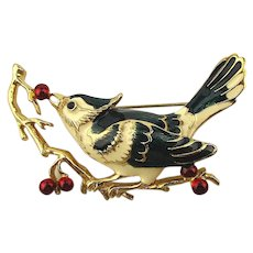 Vintage Enamel Bird Eating All the Red Berries Pin Brooch
