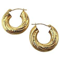 Estate 14K Yellow Gold Etched Hoop Earrings Pierced