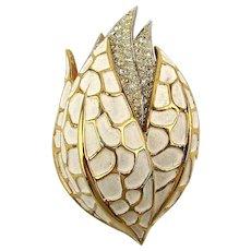 Big Fat JOMAZ Flower Bud Pin Brooch - Enamel w/ Rhinestones