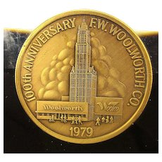 1979 F.W. Woolworth Co. Token Medallion Encased in Lucite Paperweight