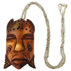 Old Carved Bone Tribal Face Mask Pendant Sterling Silver Chain Necklace