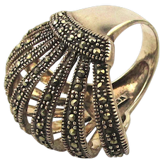 Gorgeous Sterling Silver Marcasite Ring - It Fans Out