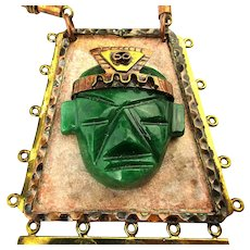Big Mexican Folk Art Necklace - Carved Malachite Mayan Face Beads Mixed Metals