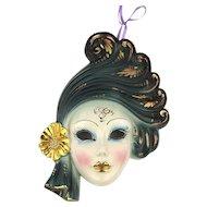 Italian Bassano Porcelain Hand-Painted Face Mask Deco Style