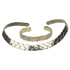 Mexican Sterling Silver Necklace Band Bracelet Cuff Set