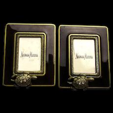 Pair Jay Strongwater Enamel Miniature Frames w/ Turtle