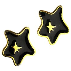 Givenchy 1980 Enamel Abstract STAR Clip Earrings