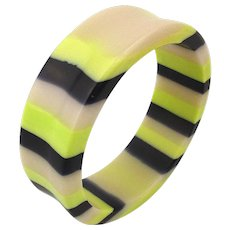 Vintage Laminated Lucite Bangle Bracelet - Such Odd Colors
