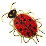 Vintage Italian Micro Mosaic Tile Lady Bug Pin Brooch