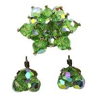 Vintage Aurora Borealis Crystal Pin - Earrings Set