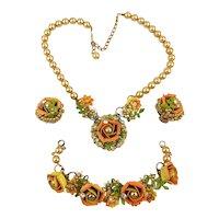Vtg. Roses-Gone-Wild Parure - Necklace Bracelet Earrings - Enamel w/ Pearls n Rhinestones
