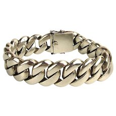 Heavy Sterling Silver Link Bracelet for Big Guy w/ Strong Bicep