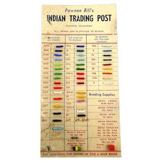 Vintage Pawnee Bill's Indian Trading Post Bead Sample Card