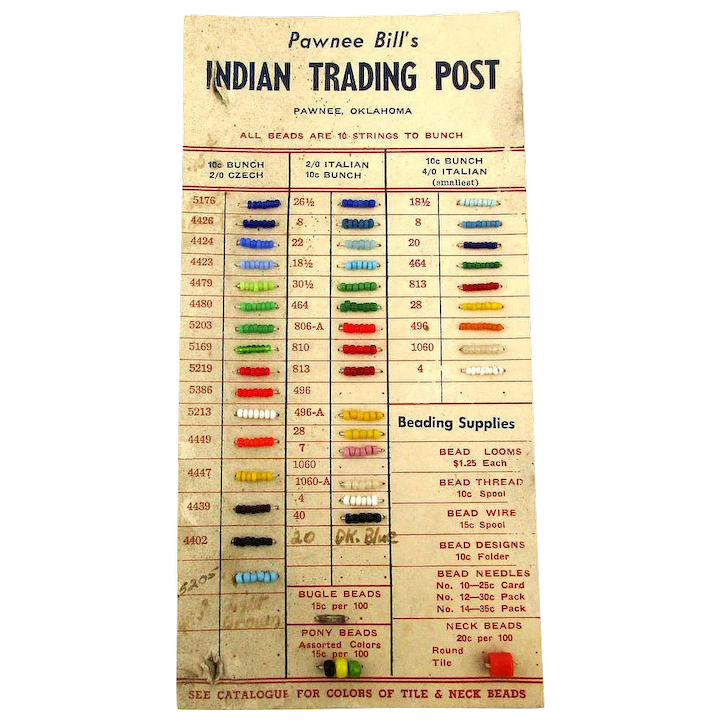 Vintage Pawnee Bill S Indian Trading Post Bead Sample Card Greatvintagestuff Ruby Lane