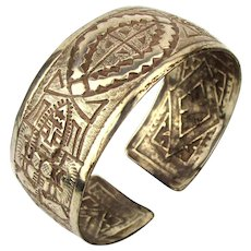 Old Hand-Etched 900 Silver Cuff Bracelet - Intricate Ethnic Folk Art