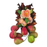 1930s Shell Flower w/ Fruit Dangles Pin Brooch