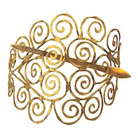Big Handwrought Goldtone Metal Scrollwork Hair Clip Slide