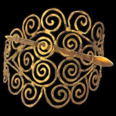 Big Handwrought Goldtone Metal Scrollwork Hair Clip Slide