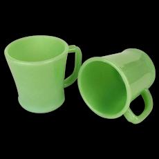 Pair Retro FIRE-KING Jadeite Glass Coffee Mugs 1950s