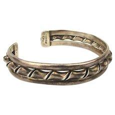 Vintage Taxco Sterling Silver Cuff Bracelet w/ a Twist in the Middle